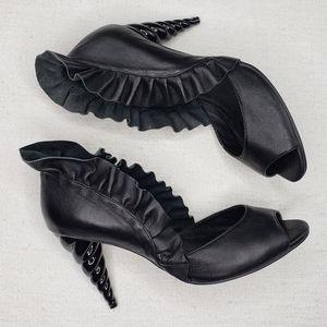 Jeffrey Campbell Black Michelle Ruffle Heels 7.5